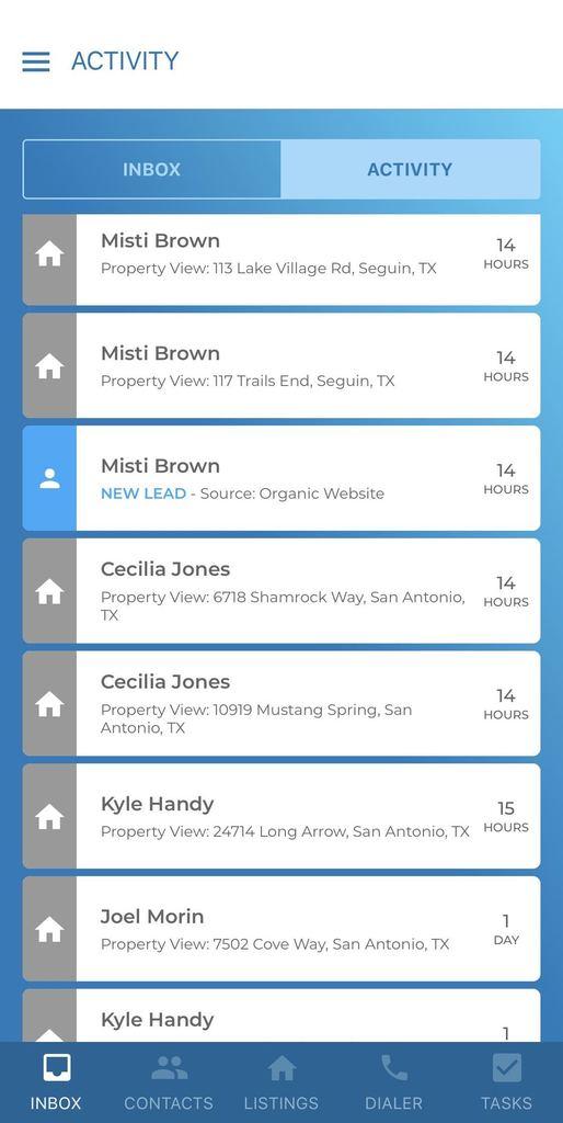 kvCORE App Activity