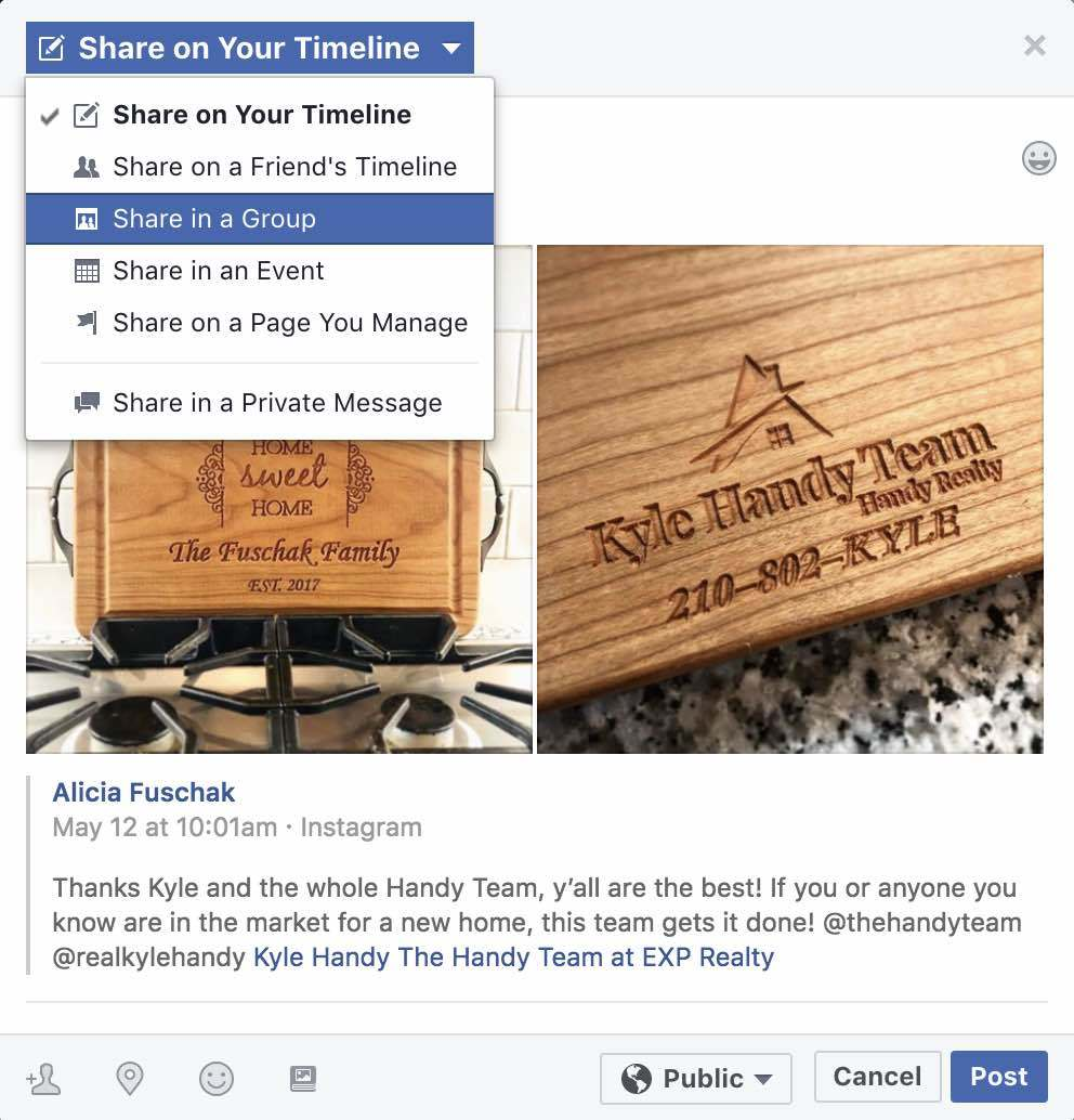 Share Facebook Post to Group